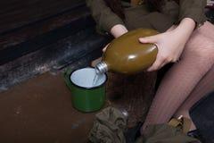 军用烧瓶 库存图片