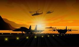 军用设备剪影  免版税库存图片