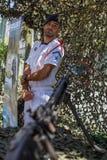 军用设备的公开示范在城市的中心广场 库存照片