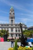 军用设备的公开示范在城市的中心广场 免版税库存照片