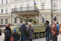 军用设备的陈列在Kyiv,乌克兰 免版税库存图片