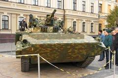 军用设备的陈列在Kyiv 库存图片