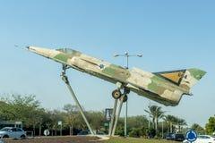 军用飞机以色列人空军队海市蜃楼纪念碑在是`唔舍瓦 免版税图库摄影