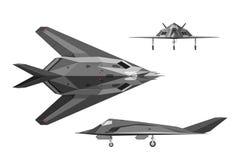 军用飞机F-117 在三个看法的战争飞机:边,上面, fr 免版税库存照片
