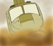 军用直升机在沙漠飞行 免版税库存照片