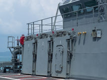 军舰上甲板 免版税图库摄影