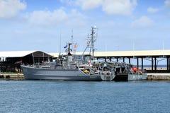 军舰在卡塔赫钠港靠了码头在西班牙 免版税图库摄影