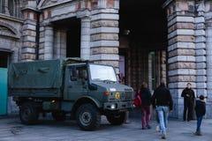军车安特卫普中央驻地 库存照片