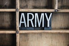 军队概念金属在抽屉的活版词 免版税库存照片