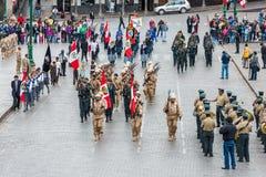 军队游行Plaza de阿玛斯库斯科省秘鲁 库存图片
