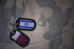 军队空白、卡箍标记与以色列的旗子和卡塔尔卡其色的纹理背景的 免版税库存照片