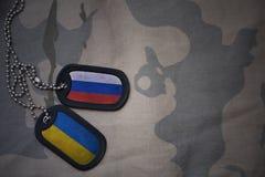 军队空白、卡箍标记与俄罗斯的旗子和乌克兰卡其色的纹理背景的 装甲攻击机体关闭概念标志绿色m4a1军用步枪s射击了数据条工作室作战u 免版税库存图片