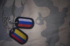 军队空白、卡箍标记与俄罗斯的旗子和哥伦比亚卡其色的纹理背景的 免版税库存照片