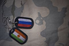 军队空白、卡箍标记与俄罗斯的旗子和尼日尔卡其色的纹理背景的 库存图片