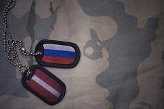 军队空白、卡箍标记与俄罗斯的旗子和拉脱维亚卡其色的纹理背景的 图库摄影