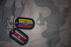 军队空白、卡箍标记与厄瓜多尔的旗子和苏里南卡其色的纹理背景的 免版税库存照片