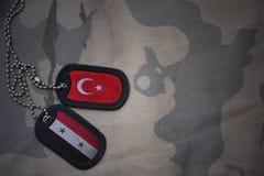 军队空白、卡箍标记与叙利亚的旗子和火鸡在卡其色的纹理背景 免版税图库摄影