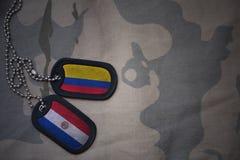 军队空白、卡箍标记与哥伦比亚的旗子和巴拉圭卡其色的纹理背景的 库存照片