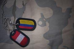 军队空白、卡箍标记与哥伦比亚的旗子和秘鲁卡其色的纹理背景的 免版税库存图片