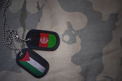 军队空白、卡箍标记与巴勒斯坦的旗子和阿富汗卡其色的纹理背景的 库存图片