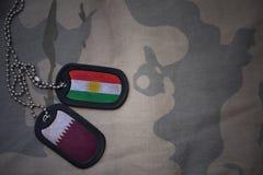 军队空白、卡箍标记与库尔德斯坦的旗子和卡塔尔卡其色的纹理背景的 库存图片