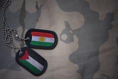 军队空白、卡箍标记与库尔德斯坦的旗子和巴勒斯坦卡其色的纹理背景的 免版税库存图片