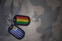 军队空白、卡箍标记与玻利维亚的旗子和乌拉圭卡其色的纹理背景的 免版税库存照片