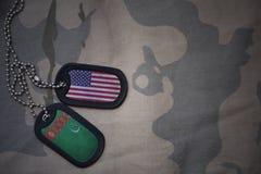 军队空白、卡箍标记与美国的旗子和土库曼斯坦卡其色的纹理背景的 免版税库存照片