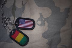 军队空白、卡箍标记与美国的旗子和基尼在卡其色的纹理背景 库存图片
