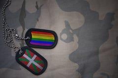 军队空白,与巴斯克国家旗子和快乐彩虹旗子的卡箍标记在卡其色的纹理背景 库存照片
