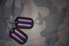 军队空白,与泰国的旗子的卡箍标记卡其色的纹理背景的 图库摄影