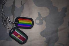 军队空白,与苏里南的旗子和快乐彩虹旗子的卡箍标记在卡其色的纹理背景 免版税库存照片