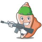 军队逗人喜爱的壳字符动画片 库存照片