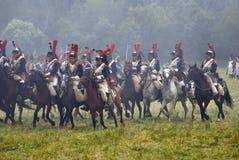 军队Borodino的战士胸甲骑兵在俄罗斯作战历史再制定 免版税图库摄影