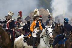 军队Borodino的战士胸甲骑兵在俄罗斯作战历史再制定 免版税库存图片