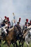 军队Borodino的战士胸甲骑兵在俄罗斯作战历史再制定 库存照片