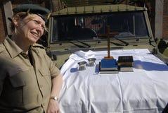 军队CHAPAINS在教会节日天 库存图片