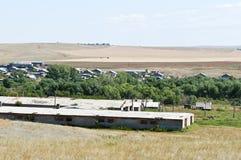 农业农场在俄国村庄 库存图片