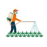 农业化学制品由在植物的农夫切除卵巢 向量例证