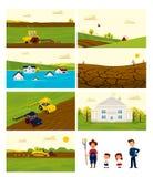 农业和种田集合背景的汇集 帮助 免版税图库摄影