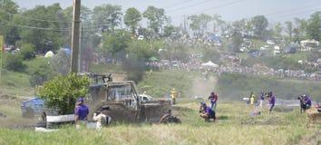农业拖拉机的竞争在Bizon轨道展示 库存照片