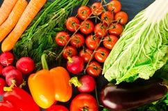 农业新鲜市场产品蔬菜 五颜六色的菜背景 健康vegeta 免版税库存图片