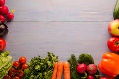 农业新鲜市场产品蔬菜 五颜六色的菜背景 健康vegeta 图库摄影