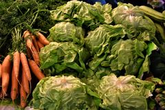 农业新鲜市场产品蔬菜 红萝卜和莴苣在市场La Boqueria -巴塞罗那 免版税库存照片