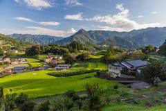 农业村庄在高千穗,宫崎,九州 库存照片