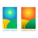 农业的公司模板 套两个商标 农学的美好的领域 太阳上升需要工作 农业的商标 向量例证