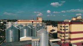 农业粮食干燥机复合体 有计量局的现代粮仓 影视素材