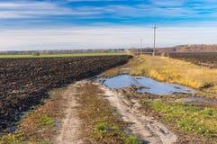 农业领域和肮脏的路在Poltavskaya oblast,乌克兰的晴朗的11月天 图库摄影