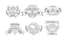 农产品商标,减速火箭的标签,农厂市场的象征,包装的自然产品,餐馆菜单的汇集 库存例证
