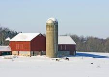 农厂中西部冬天 库存图片